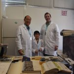 Senator Taniguchi, his Grandson Roycen and State Archivist Jansen with the Time Capsule