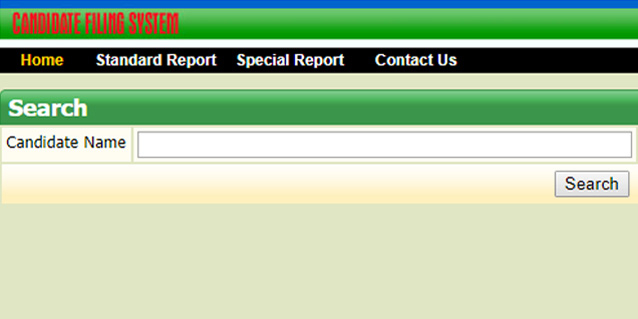 screenshot of candidate filing system website