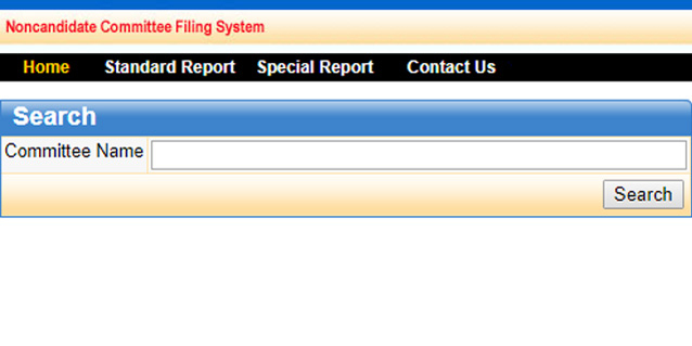 screenshot of noncandidate filing system website