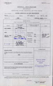 US Customs Declaration form for Apollo 11