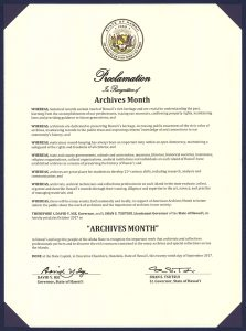 Proclamation: Archives Month