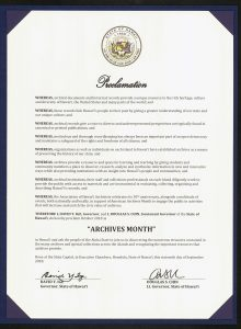 Archives Month 2018 Governor's Proclamation