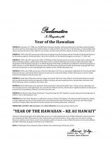 Year of the Hawaiian - Ke Au Hawaiʻi Governorʻs Proclamation