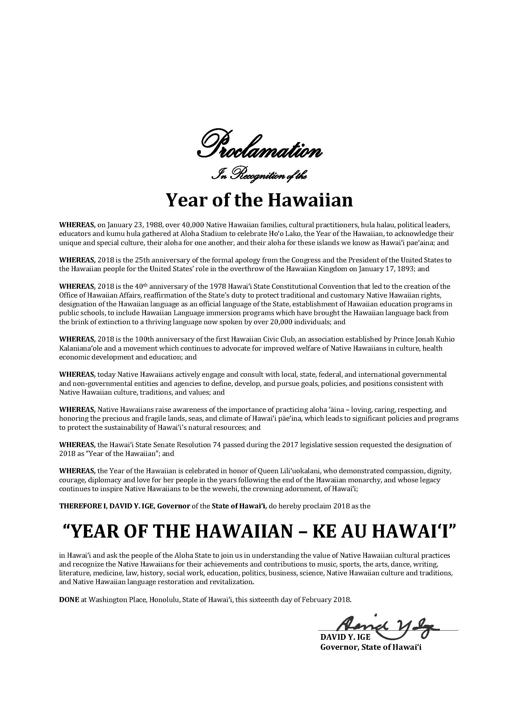 archives month 2018 governors proclamation year of the hawaiian ke au hawaii governors proclamation