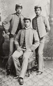 Standing L to R: David Kawananakoa, Edward Abnel Keliiahonui Sitting: Jonah Kuhio Kalanianaole