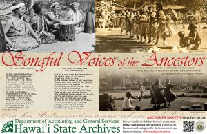 2021 Hawaiʻi State Archives Poster, Songful Voices of the Ancestors, English version